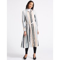 M&S Collection Striped Longline Shirt Midi Dress