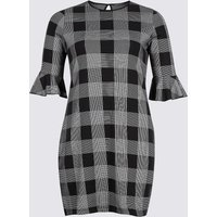 M&S Collection PLUS Cotton Rich Striped Check Tunic Dress