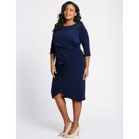 M&S Collection CURVE Drape Half Sleeve Wrap Midi Dress