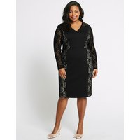 M&S Collection CURVE Lace Long Sleeve Bodycon Midi Dress