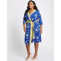 M&S Collection CURVE Floral Print ¾ Sleeve Wrap Midi Dress