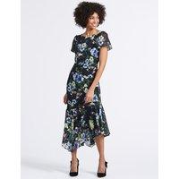 M&S Collection Floral Print Asymmetric Tunic Midi Dress