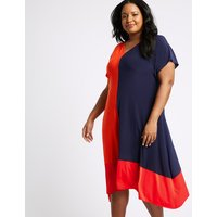 M&S Collection CURVE Colour Block Jersey A-Line Midi Dress