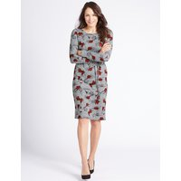 Classic Printed Tunic Midi Dress with Belt