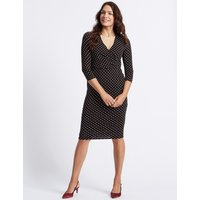 Classic Spotted 3/4 Sleeve Wrap Midi Dress