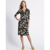 Classic Printed Knot Front Half Sleeve Dress