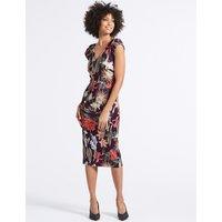 M&S Collection Floral Print Asymmetric Bodycon Midi Dress