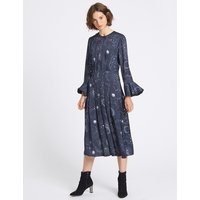 Limited Edition Constellation Print Long Sleeve Midi Dress