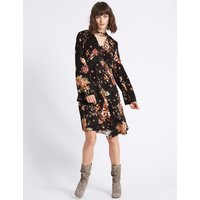 Limited Edition Jacquard Floral Long Sleeve Swing Dress