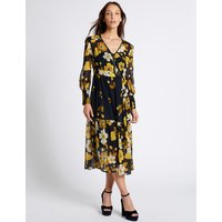 M&S Collection Floral Print Long Sleeve Midi Dress