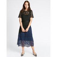 M&S Collection Lace Colour Block Short Sleeve Midi Dress