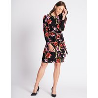 M&S Collection Floral Print Long Sleeve Tunic Midi Dress