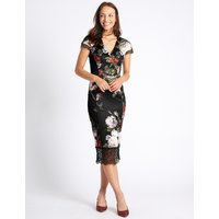M&S Collection Floral Print Fuller Bust Bodycon Midi Dress