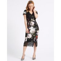 M&S Collection PETITE Floral Print Bodycon Midi Dress