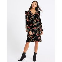 M&S Collection Printed Long Sleeve Tunic Midi Dress