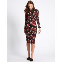 M&S Collection Floral Lace Long Sleeve Bodycon Midi Dress