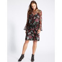 M&S Collection Embroidered Botanical Mesh Tunic Dress