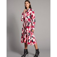 Autograph Printed Shirt Midi Dress with Belt