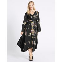 M&S Collection Floral Print Flute Sleeve Wrap Midi Dress