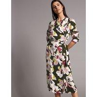 Autograph Pure Cotton Floral Print Shirt Midi Dress