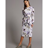 Autograph Floral Print Belted Tunic Midi Dress