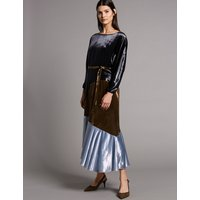 Autograph Colour Block Velvet Asymmetric Midi Dress