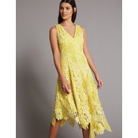 Autograph Floral Lace Asymmetric Maxi Dress