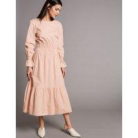 Autograph Pure Cotton Ruched Waist Tunic Midi Dress