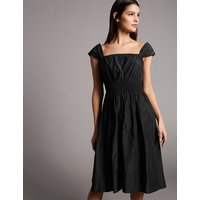 Autograph Taffeta Cap Sleeve Skater Midi Dress