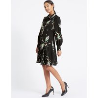 M&S Collection Printed Long Sleeve Shirt Dress