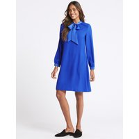 M&S Collection Tie Neck Long Sleeve Swing Dress