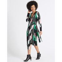 M&S Collection Geometrical Print Long Sleeve Wrap Dress