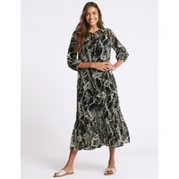 M&S Collection Palm Print 3/4 Sleeve Tunic Maxi Dress