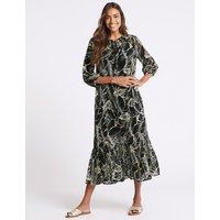 M&S Collection Palm Print 3/4 Sleeve Tunic Maxi Dress