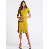 M&S Collection Cutwork V-Neck Short Sleeve Tunic Dress