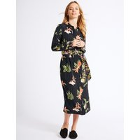 M&S Collection PETITE Floral Print Shirt Midi Dress