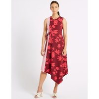 M&S Collection Colour Block Floral Print Wrap Midi Dress