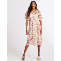 M&S Collection Floral Print Half Sleeve Skater Midi Dress