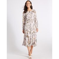 M&S Collection Floral Print Long Sleeve Skater Maxi Dress