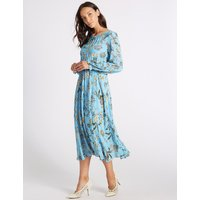 M&S Collection Floral Print Long Sleeve Skater Midi Dress