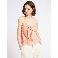 Limited Edition Cotton Rich Textured V-Neck Vest Top