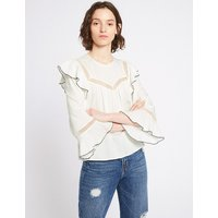 Limited Edition Lace Insert Round Neck Long Sleeve Blouse