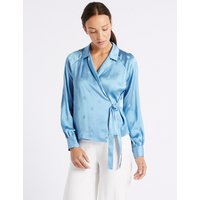 M&S Collection Spotted Satin V-Neck Long Sleeve Blouse