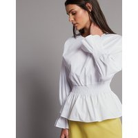 Autograph Pure Cotton Ruched Long Sleeve Blouse