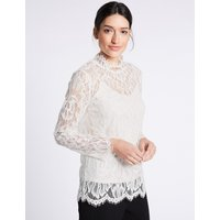 Per Una Cotton Blend Lace Long Sleeve Blouse