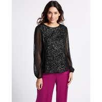 Per Una Sequin Front Round Neck Long Sleeve Blouse