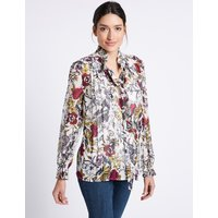 Per Una Floral Print Ruffle Neck Long Sleeve Blouse