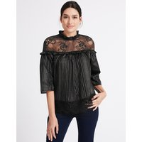 Per Una Cotton Rich Lurex Mesh Funnel Neck Blouse