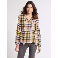 Per Una Cotton Rich Checked Long Sleeve Blouse