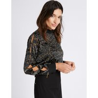 Per Una Leopard Devore Button Sleeve Blouse
